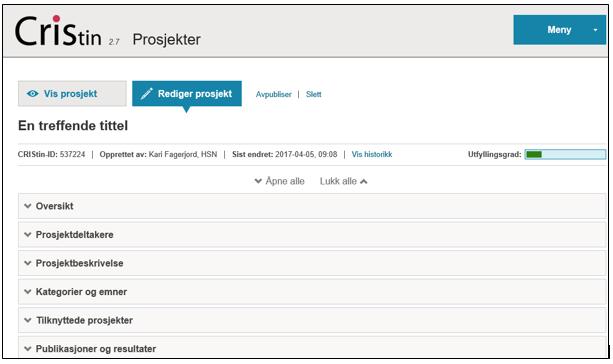 CRIStin registrering av prosjekter