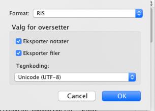 Velg RIS-format og huk av på Eksporter filer