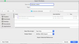 Velg RIS-format i Output style og Text Only