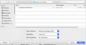 Klikk på Options for å kunne velge RIS-format i import-vinduet i EndNote.